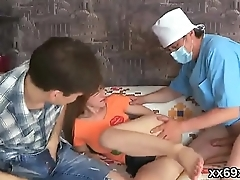 Stud assists with hymen interpretation and nailing of virgin cutie