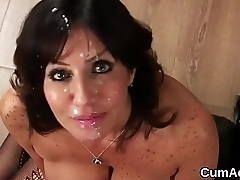 Hot bombshell gets cumshot on their way face sucking all the jizz
