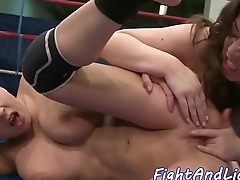 Busty babe fingered after fighting