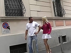 A blonde is taken and dragged at home for fuck by a bad guy