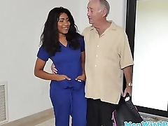 Ebony babe fucks two geriatrics