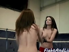 Lesbian babe pleasured with strapon