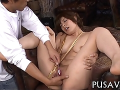 Hot asian playgirl and a giant fake penis
