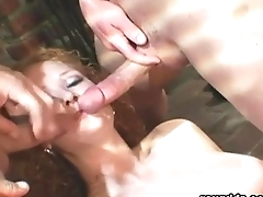 Super Ginger Gets Her Ass Gaped With 2 Cocks Inside
