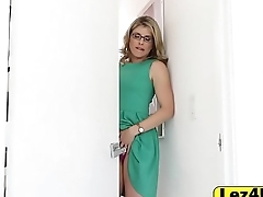 Horny blondes Cory Chase and Roxy enjoying a dildo together