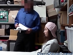 Teen thief tugs for cum