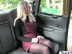 Pretty blonde babe in pantyhose railed by fake driver