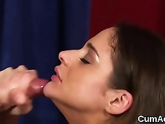 Wicked bombshell gets jizz shot on her face gulping all the love juice