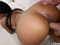 Big tits and juicy booty ebony chick gets white dick