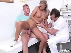 Bf assists with hymen physical and riding of virgin kitten