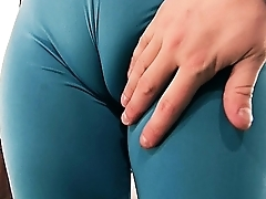 Enormous Cameltoe and Huge Natural Boobs on this Blonde Teen