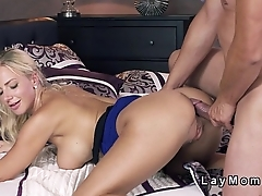 Busty blonde Milf rimmed and banged till got creampie