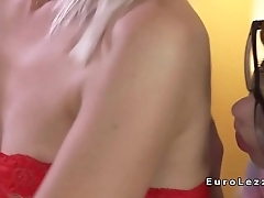 Lesbo in red lingerie stripped and licked