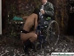 Handicapped grandpa gets lucky with sexy joyless