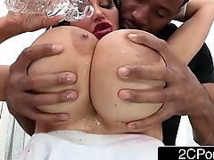 Huge Fake Tits MILF Amy Anderssen Gets Down On Her Knees to Suck Big Black Cock