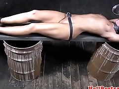 Tickled restrained submissive waterboarded