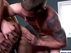 Jizzed muscular studs in handjob train