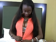 Ebony teen jugs jizzed