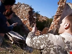 2 hot sluts fucked away from 2 horny guys in this outdoor video
