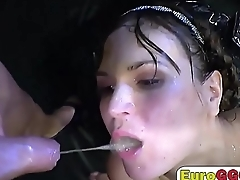 brunette strips shows off tits and drink piss cum gangbang