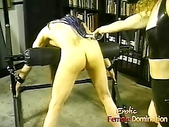 Horny dude with sting hair enjoys being whipped by his dominatrix