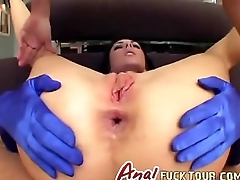 Double penetration blowjob brunette slut threesome
