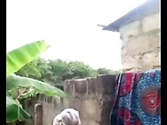 african pet taking bath