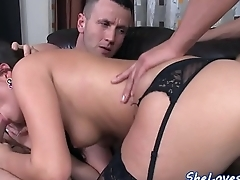 Babe fucked doggystyle in threesome