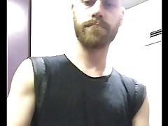Ginger bearded guy stripping naked in the train toilets