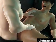 3D stud gets a golden shower before getting fucked by a fireman
