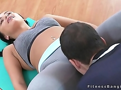 Fitness coach fucks brunette nymph