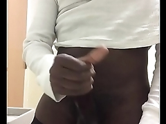 Stroking in the bathroom at work