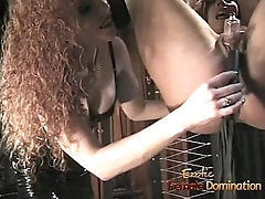 Foxy bint gets suspended from the ceiling plus whipped with fervor