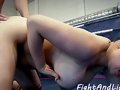 Busty lesbian babe fucked with strapon
