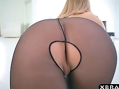 Big ass in nylons of Brooklyn Chase rim by a big dick