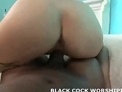 His big black cock feels so good in my tight white pussy